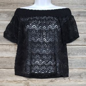 Ultra Flirt Lace Design Off The Shoulder Top